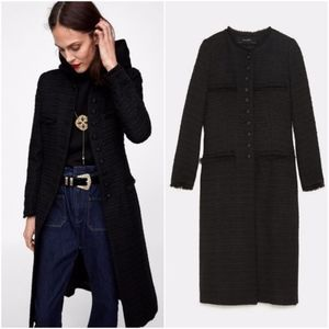 NWT Zara Size S Long Tweed Coat Military Sexy